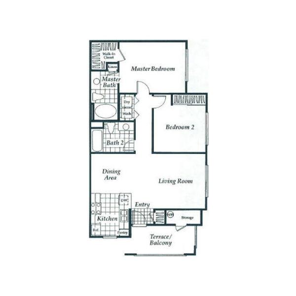 Two Bedroom Apartment Floor Plan In Aliso Viejo Ca Milan